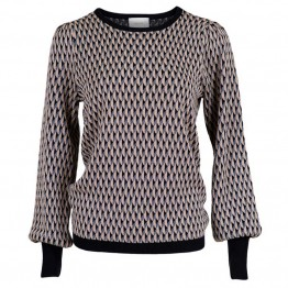 Neo Noir strikbluse - Loline Graphic Knit Blouse, Navy
