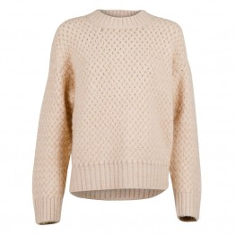 Neo Noir strikbluse - Kunni Cross Stitch Knit, Sand Melange
