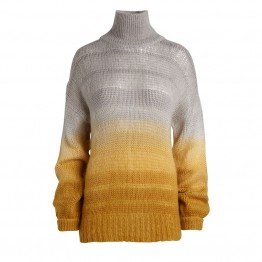 Rabens Saloner strikbluse - Amina Stripe Dye Oversize Sweater, Grey Yellow