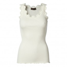 Rosemunde - Silk top regular w/vintage Lace, Ivory