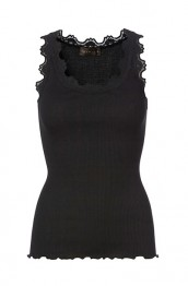 Rosemunde - Silk top regular w/vintage lace, Black