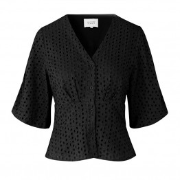 Second Female bluse - Milly SS Blouse, Black