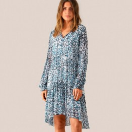 Second Female kjole - Clouds LS Midi Dress, Faded Denim