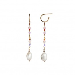 Stine A ørering - Dangling Baroque Pearl Stone Earring, Pink Mix