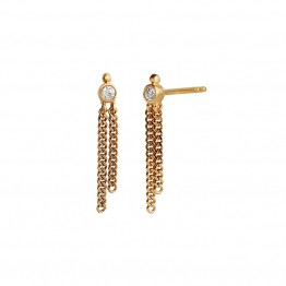 Stine A ørering - Big Dot With Two Chains Earring, Gold
